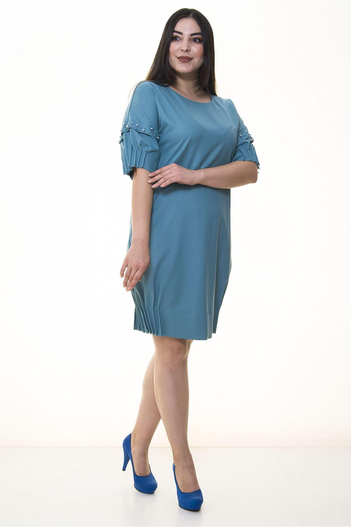 Büzgülü Kol İncili Büyük Beden Elbise 12D-1328