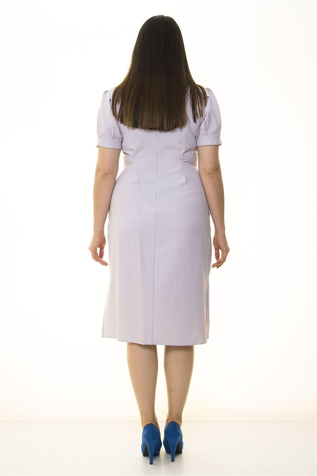 Yandan Yırtmaçlı Büyük Beden Elbise 25A-1332
