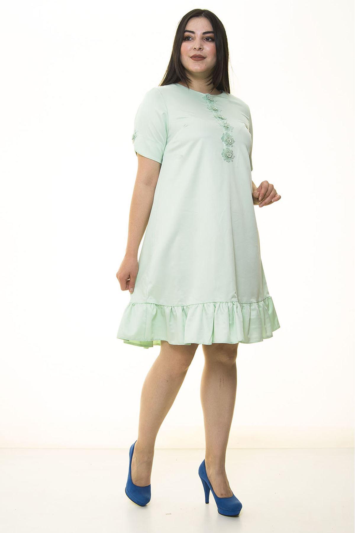 Eteği Fırfırlı Fistolu Büyük Beden Elbise 26D-1334