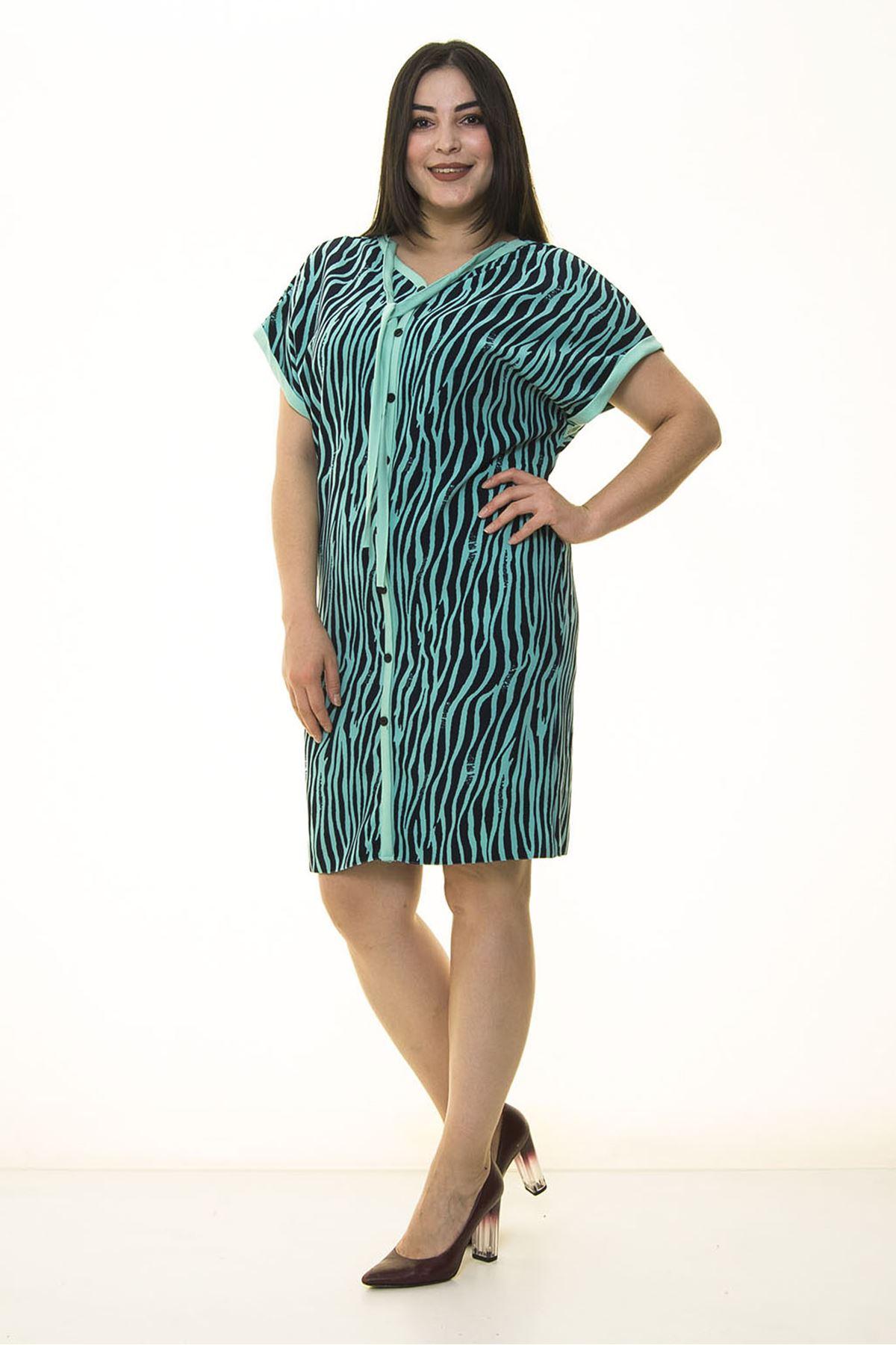 Yeşil Zebra Büyük Beden Elbise 32E-1341
