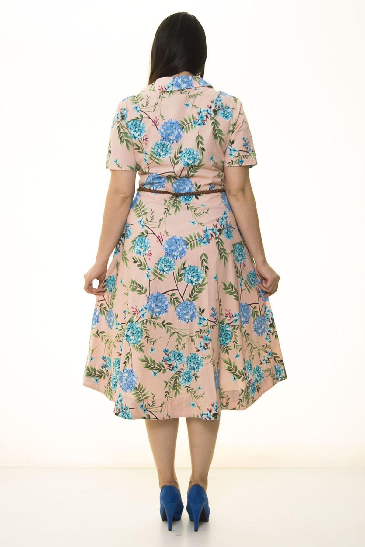 Kemerli Çiçekli Büyük Beden Elbise 33D-1335