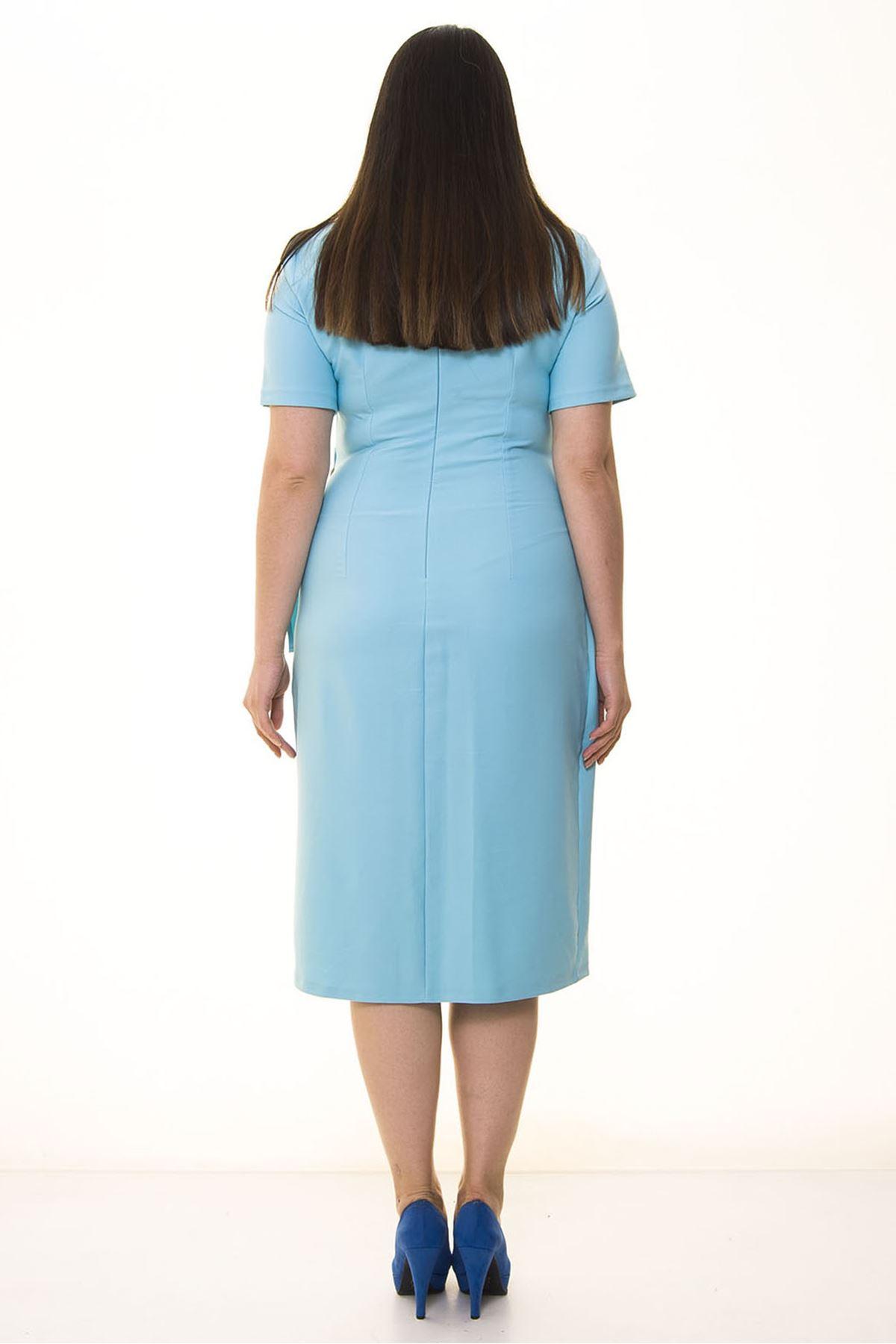 Kısakol Bel Detaylı Büyük Beden Elbise 16C-1330