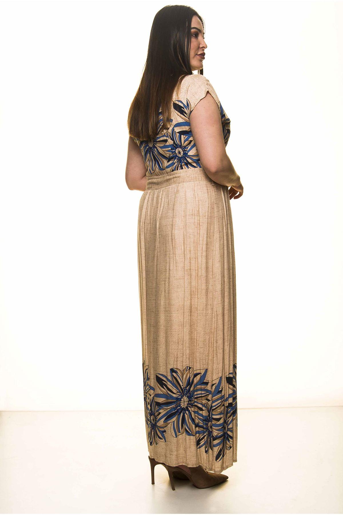 Çiçekli Uzun Büyük Beden Elbise G1-1597