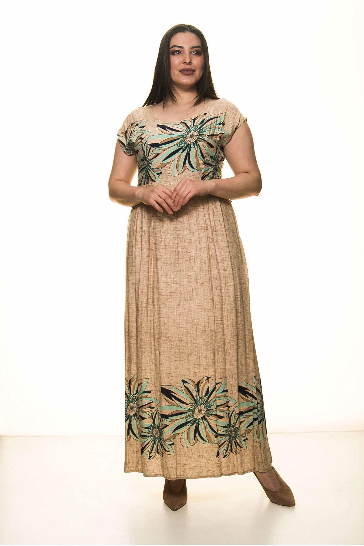 Yeşil Çiçekli Büyük Beden Uzun Elbise G1-1598
