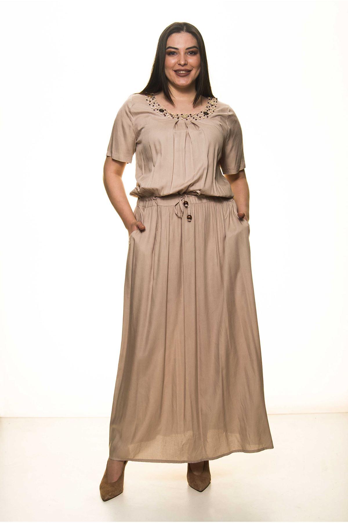 Yaka Boncuklu Büyük Beden Uzun Elbise G1-1601