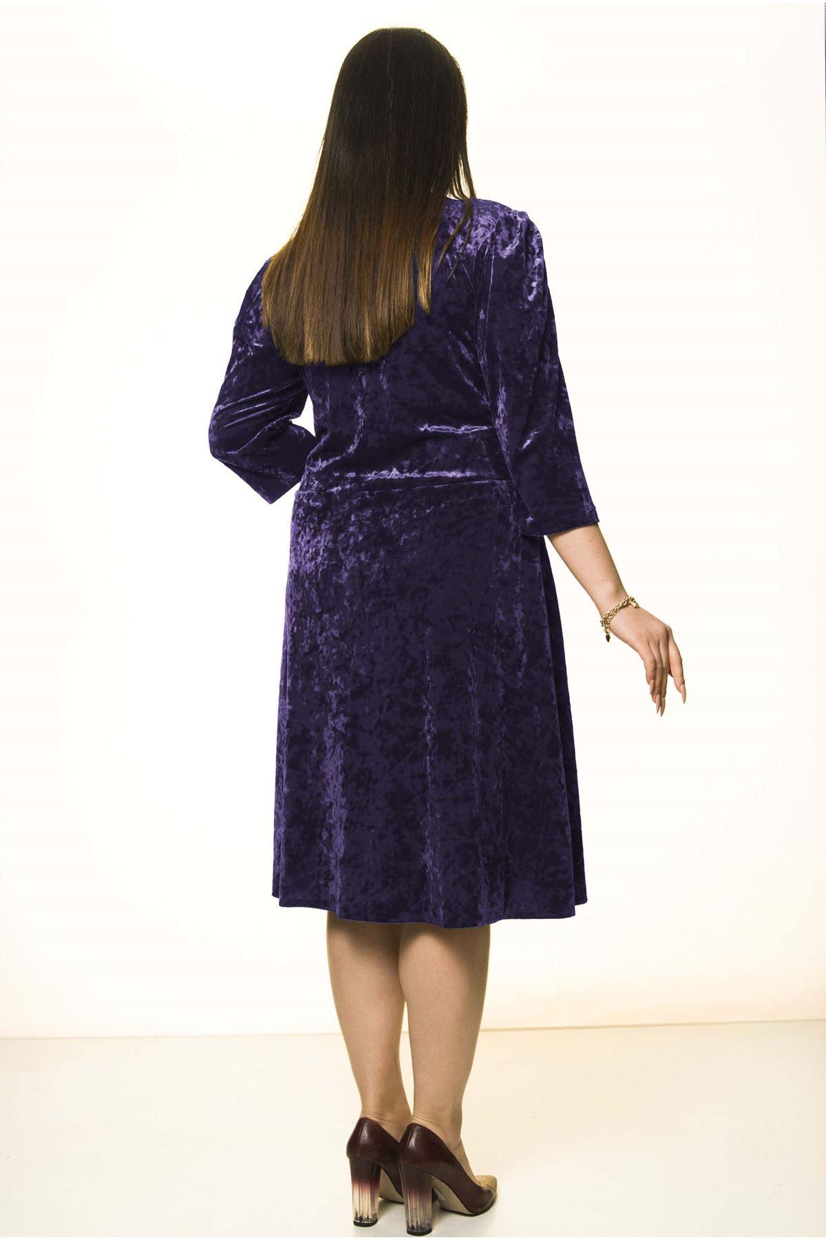Mor Kadife Büyük Beden Elbise 30A-1580