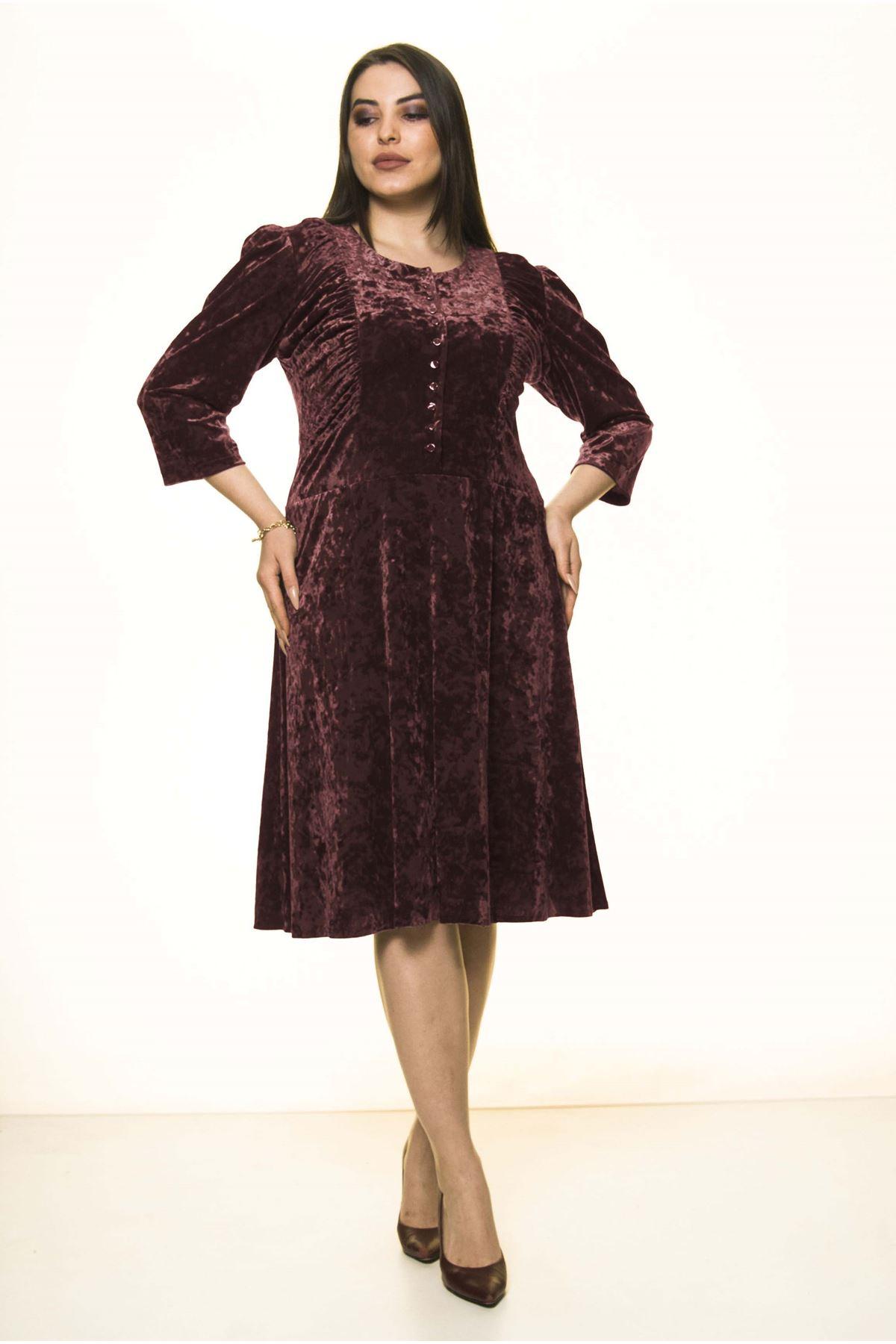 Bordo Kadife Büyük Beden Elbise 7A-1582