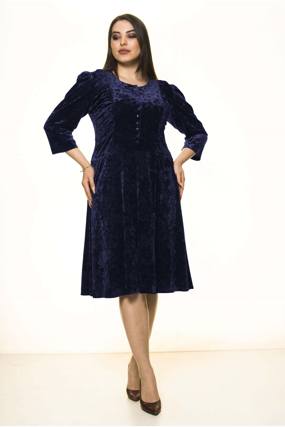 Lacivert Kadife Büyük Beden Elbise 10A-1581
