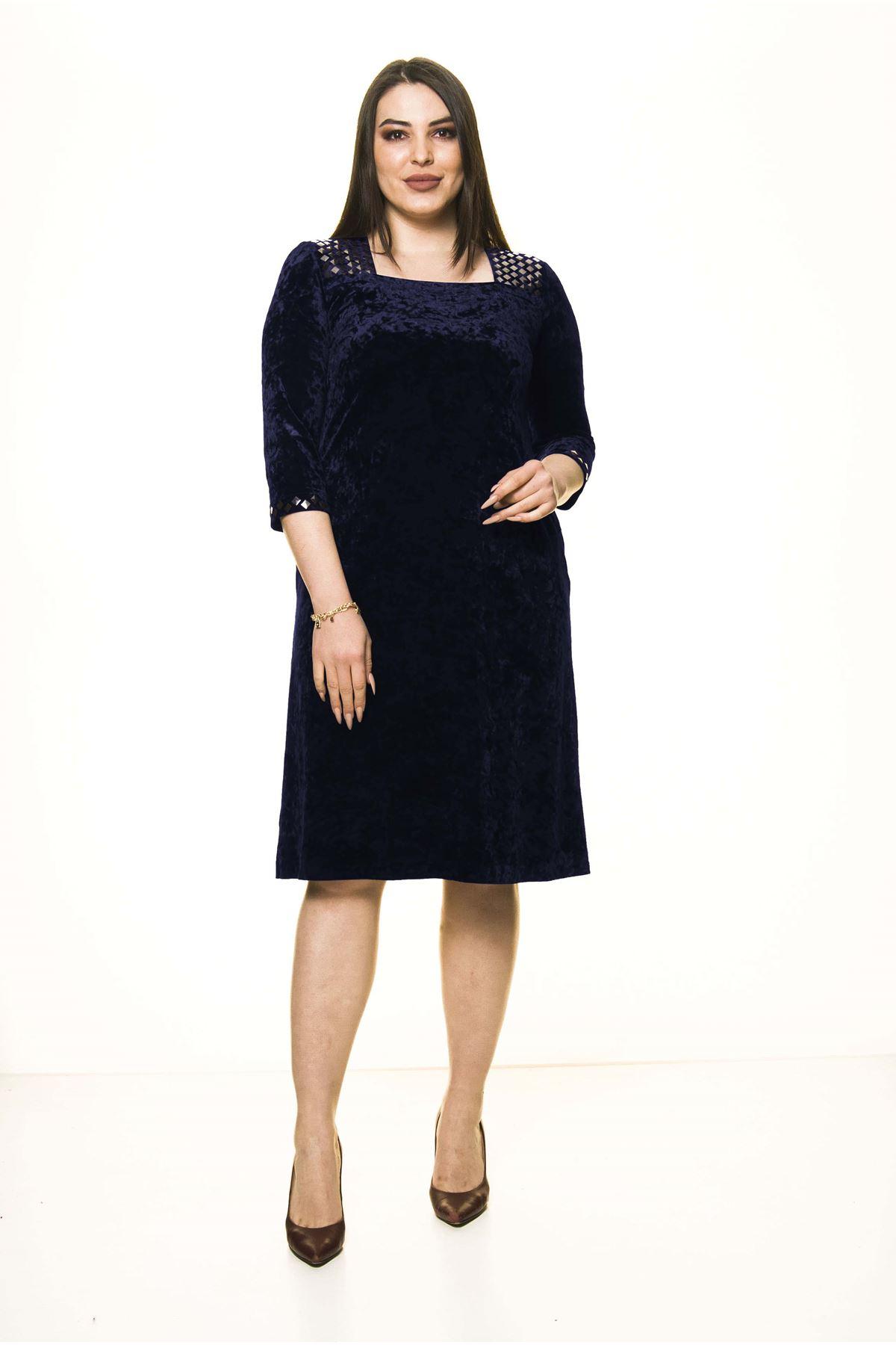 Lacivert Kadife Büyük Beden Elbise 25D-1585