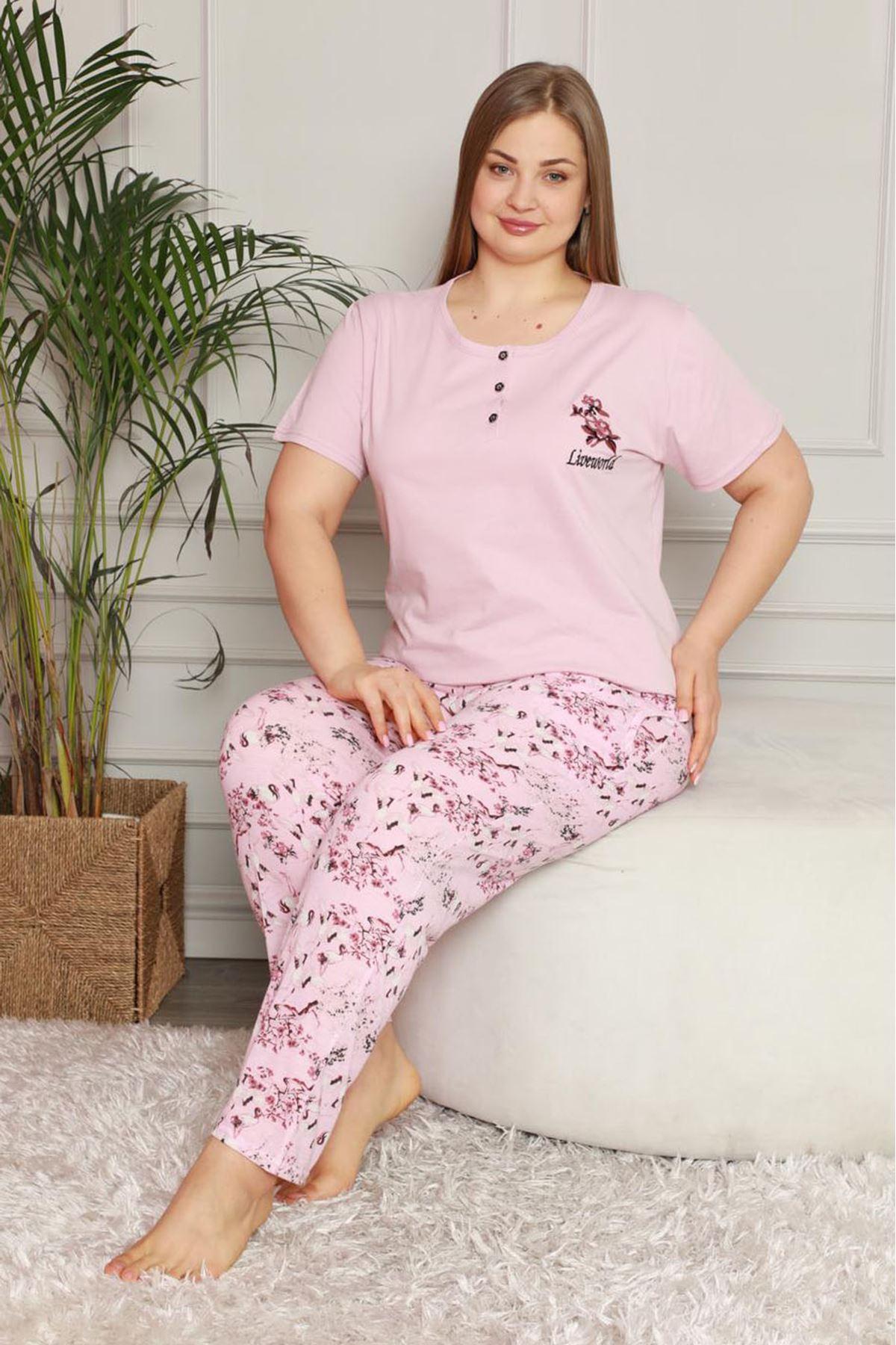 Yazlık Pembe Büyük Beden Pijama Takımı 26B-1605