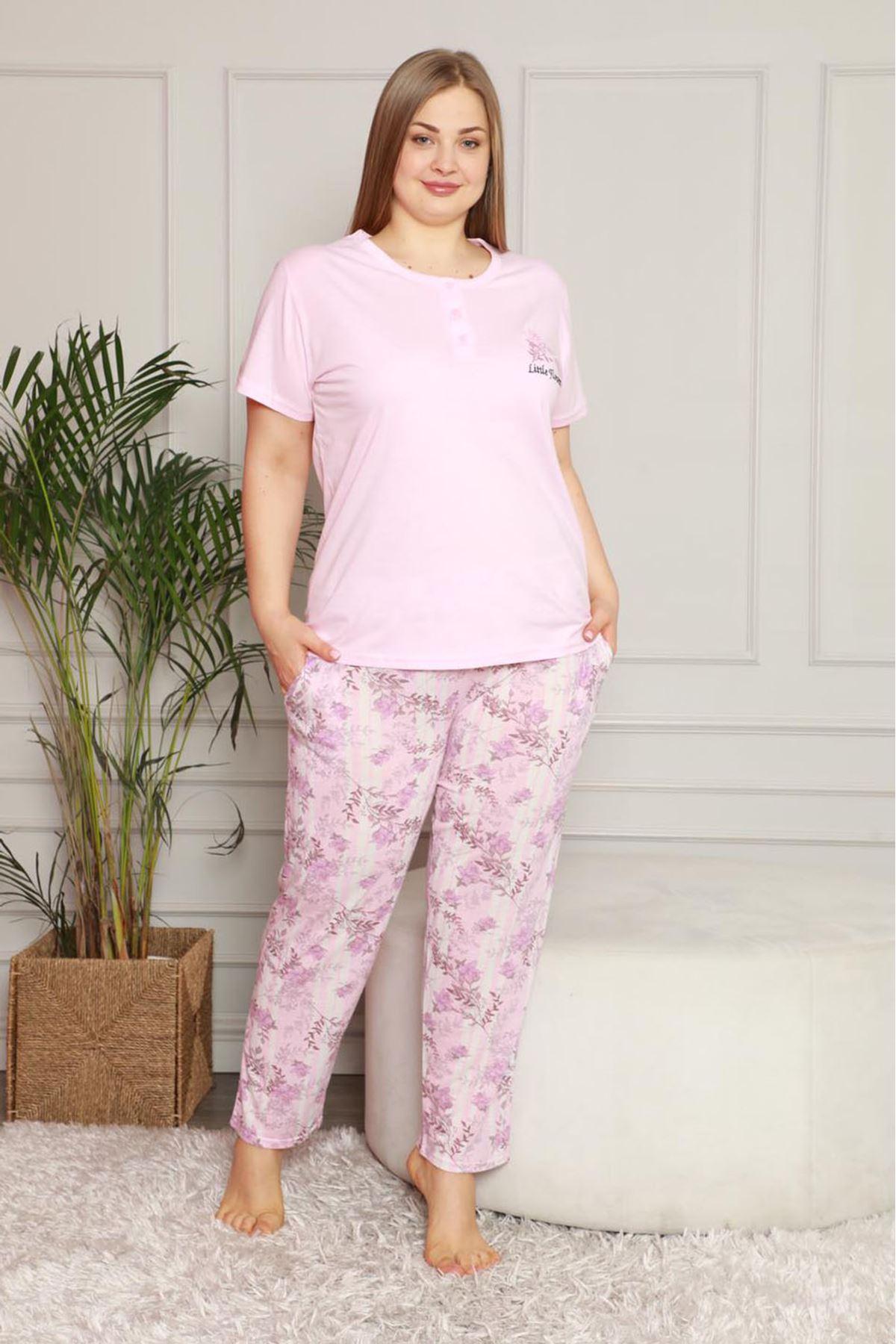 Yazlık Geniş Kesim Büyük Beden Pijama Takımı 26B-1621