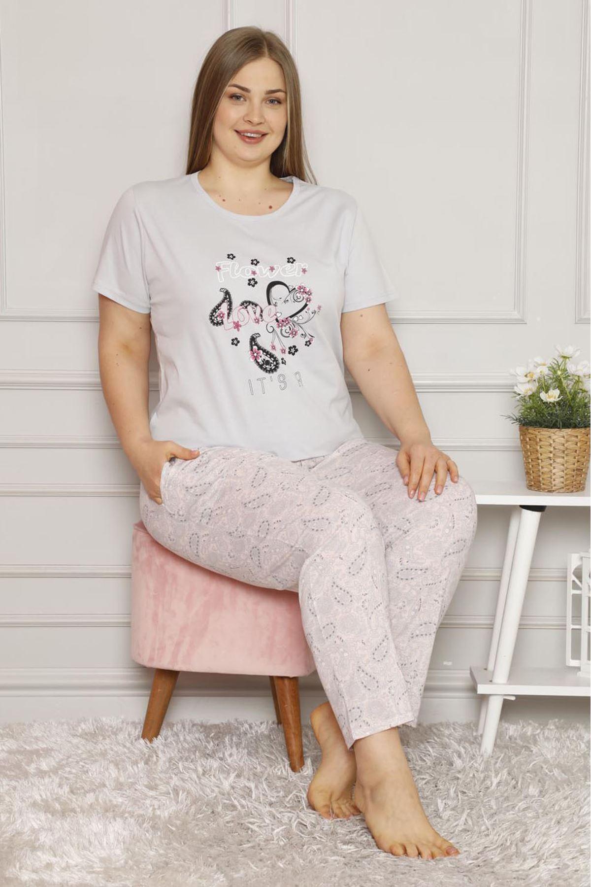 Yazlık Geniş Kesim Gri Büyük Beden Pijama Takımı 26B-1618