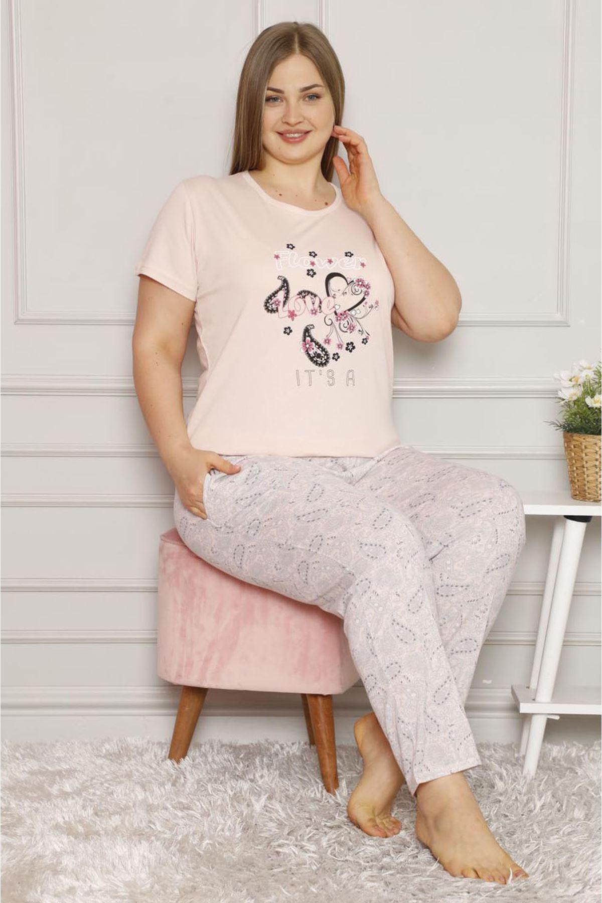 Yazlık Geniş Kesim Büyük Beden  Pijama Takımı 26B-1611