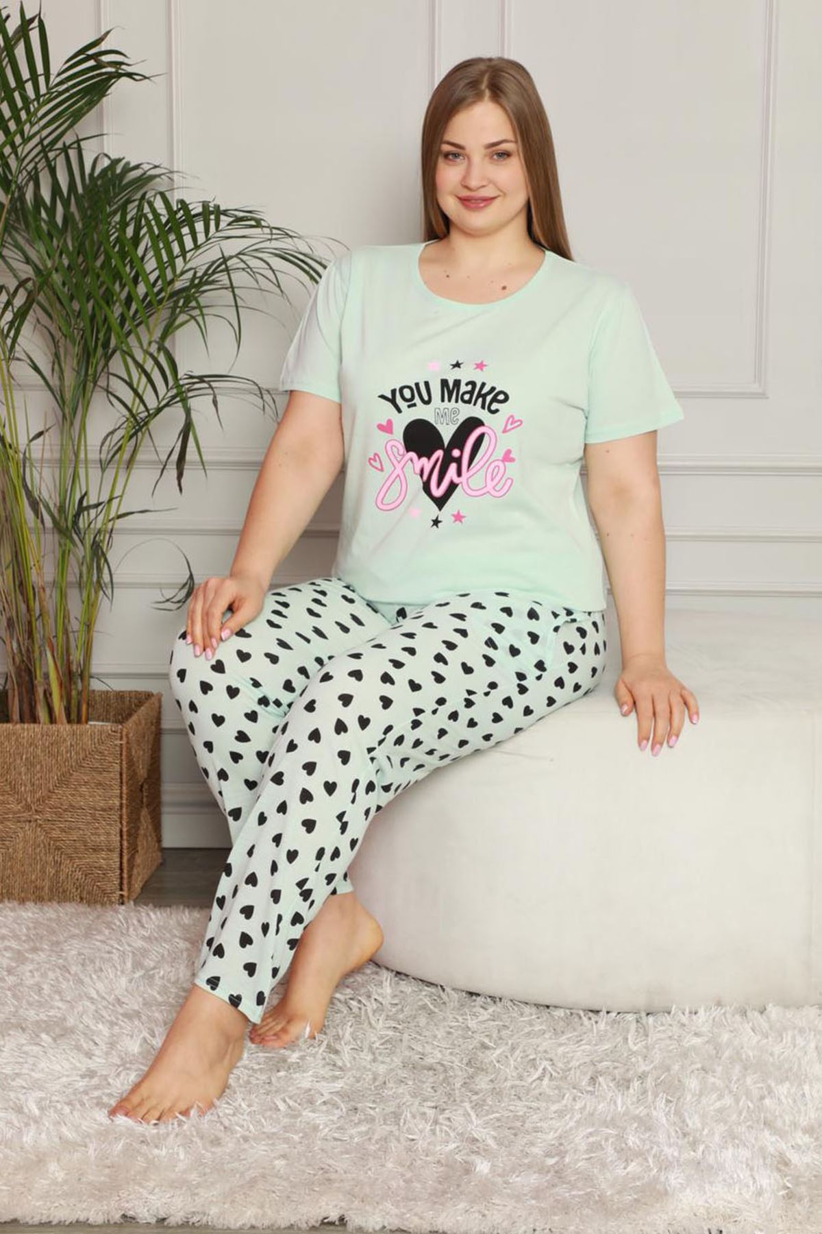 Yazlık Geniş Kesim Büyük Beden Pijama Takımı 26B-1617