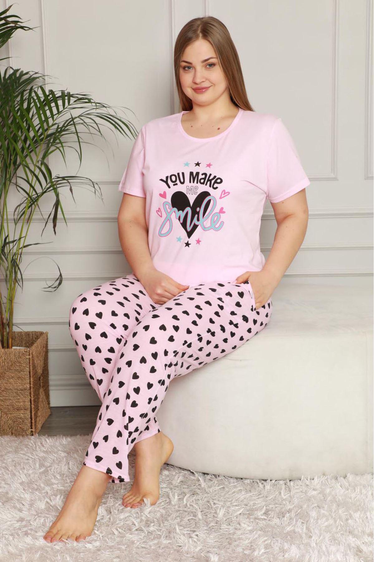 Yazlık Geniş Kesim Büyük Beden Pijama Takımı 26B-1608