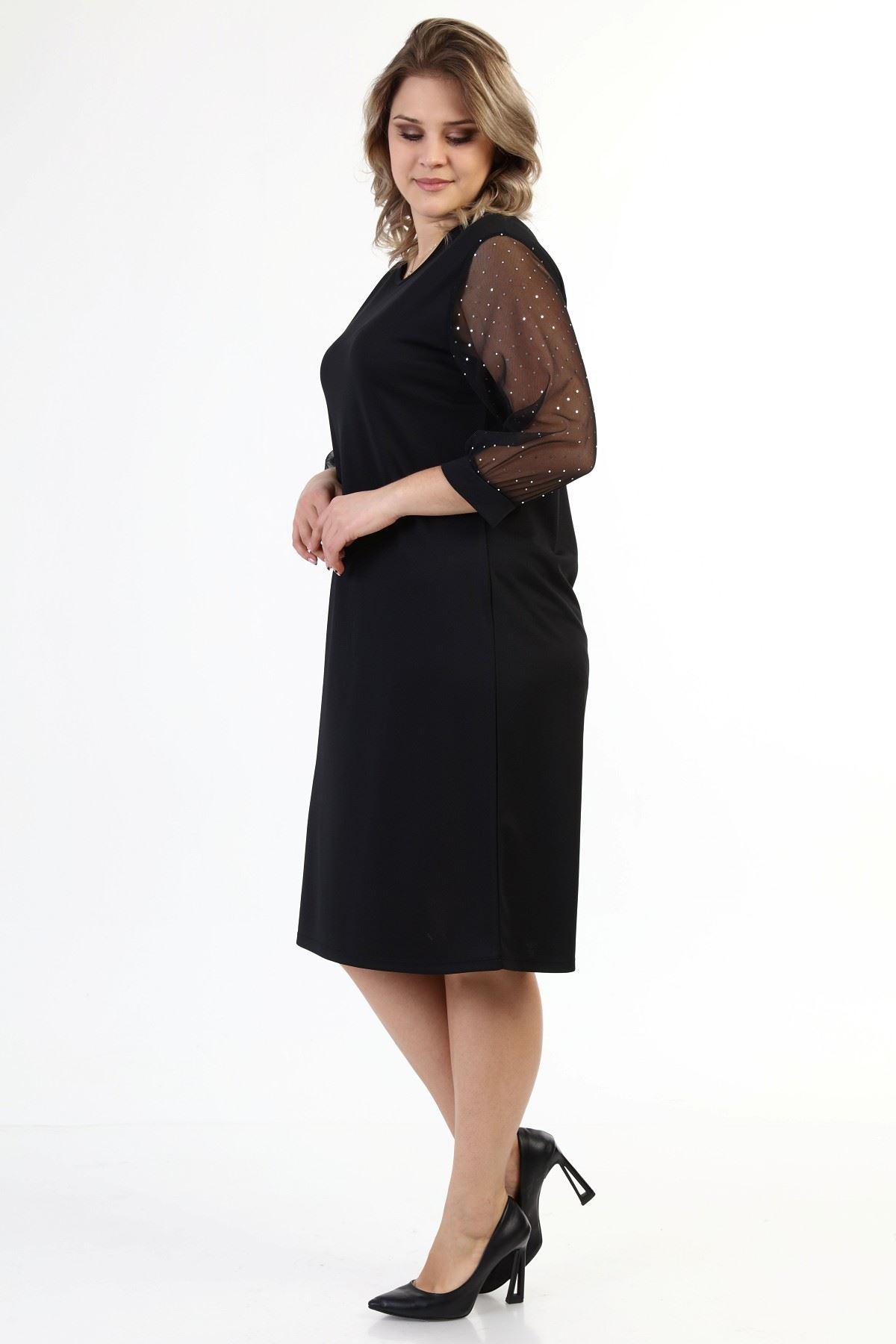 Kolları Parlak Puanlı Büyük Beden Elbise 35B-1638