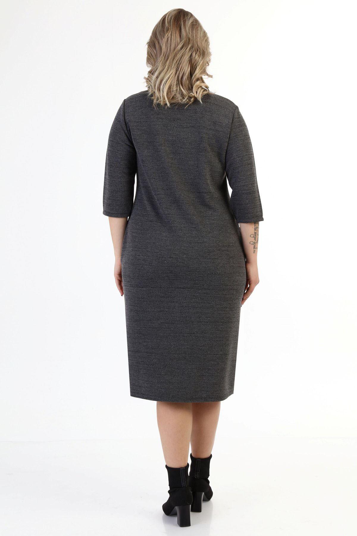 Cepli Esnek Kışlık Büyük Beden Elbise 18C-1623