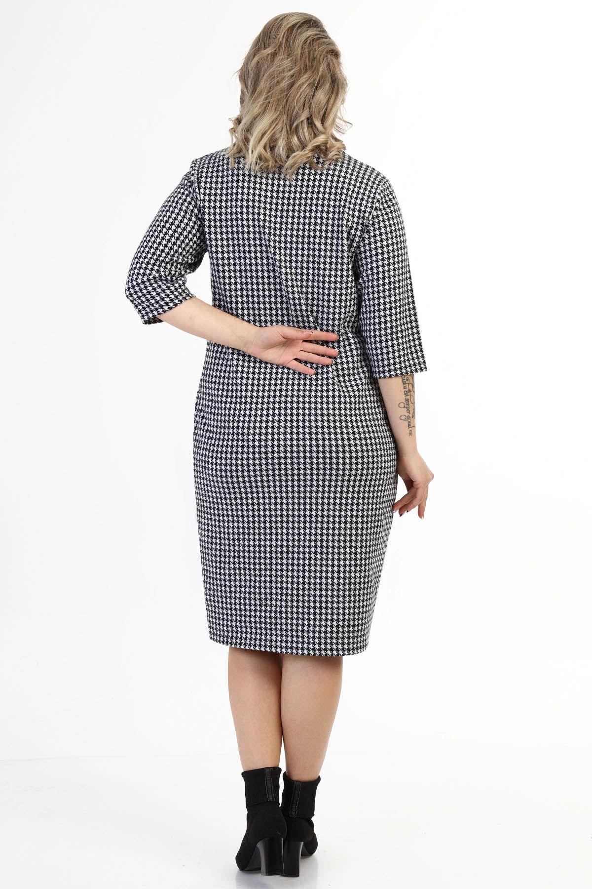 Cepli Kazayağı Desenli Esnek Kışlık Büyük Beden Elbise 16D-1627