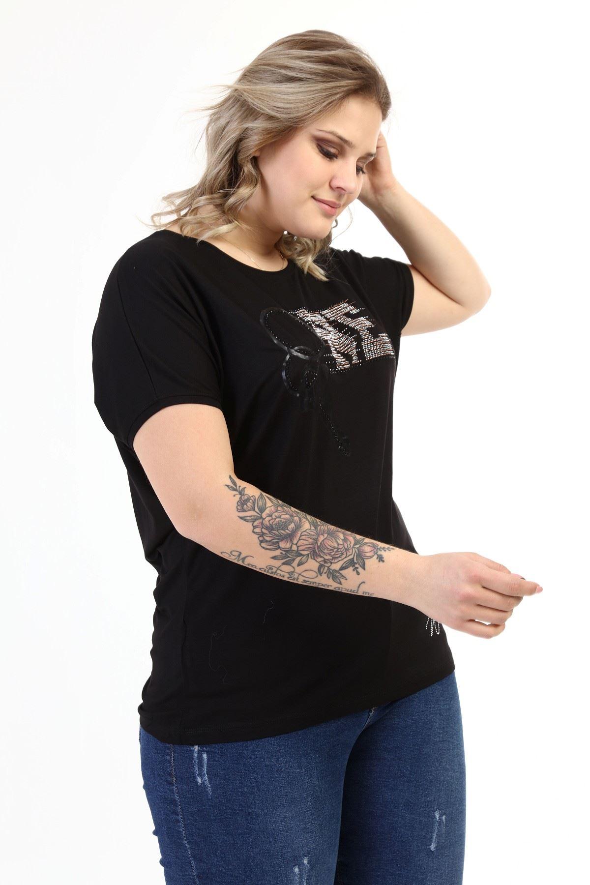 Siyah Taşlı Büyük Beden Bluz 22A-1635