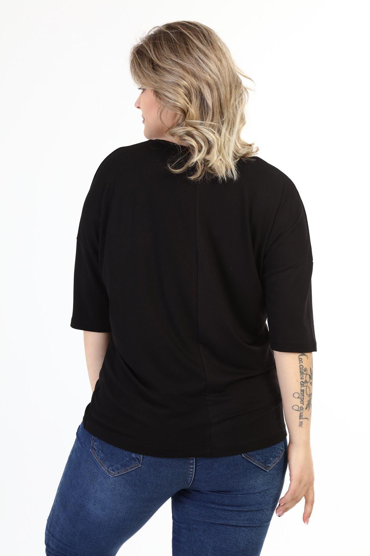 Siyah Taşlı Kadın Baskılı Büyük Beden Bluz 21E-1633