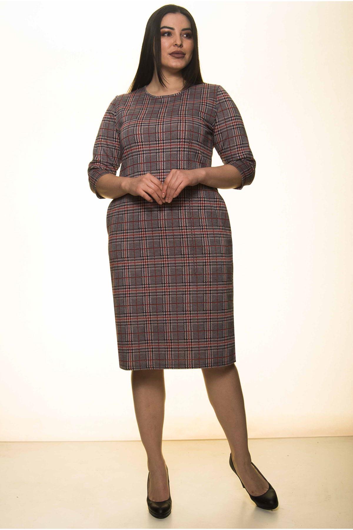 Ekose Cepli Kışlık Büyük Beden Elbise 34D-91549