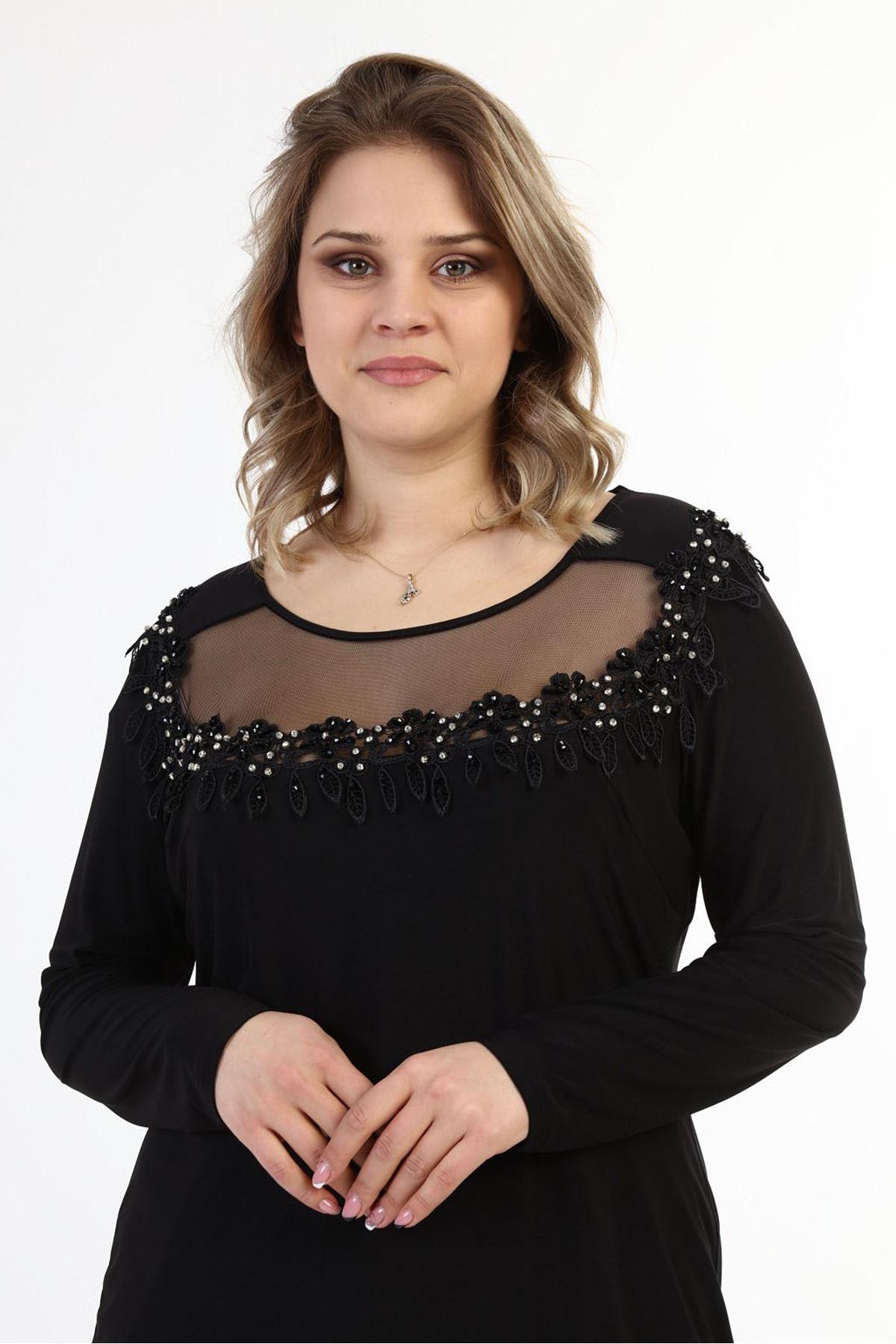 Güpürlü Taşlı Büyük Beden Elbise j10-1727