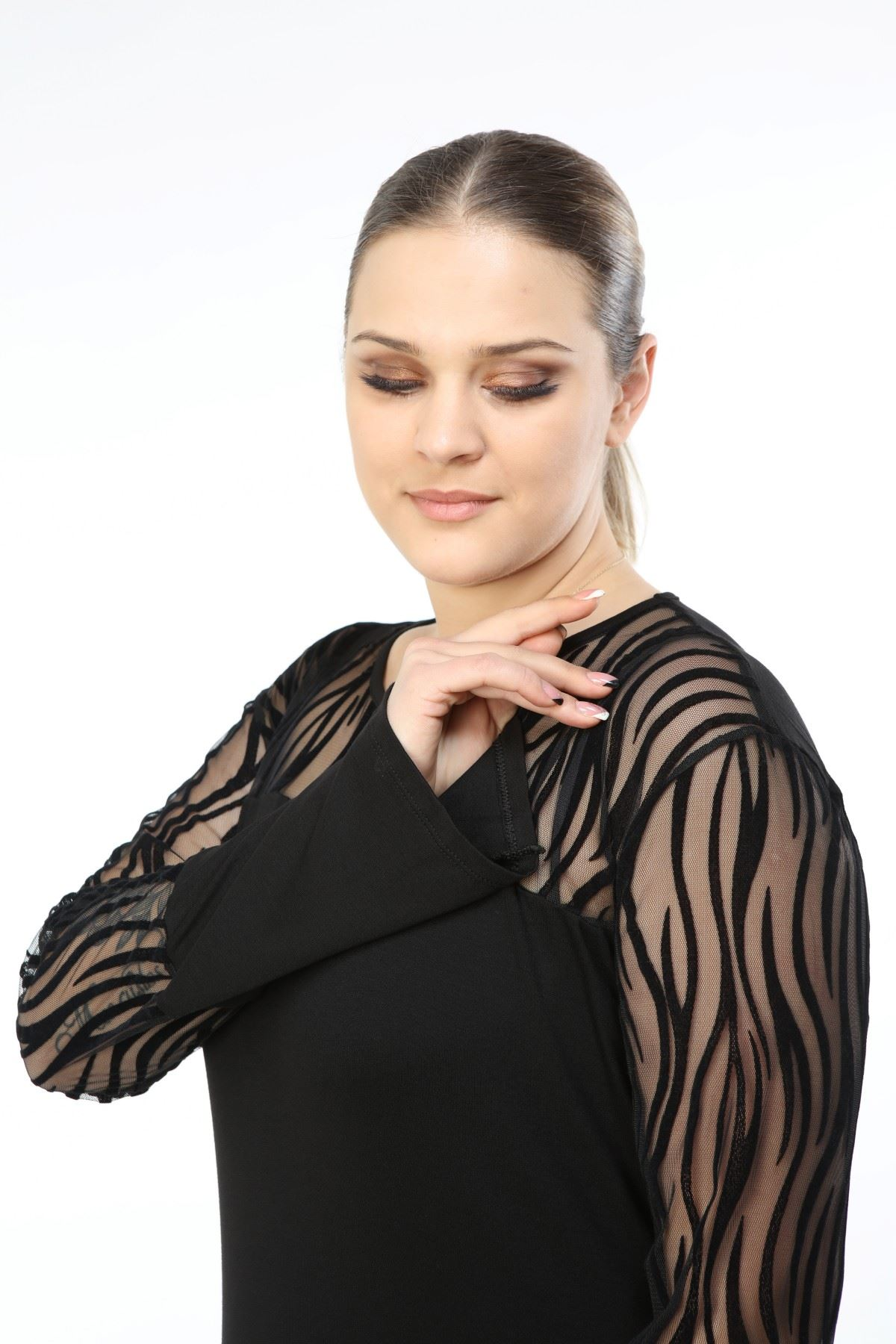 Zebra Siyah Büyük Beden Tunik 34E-1602