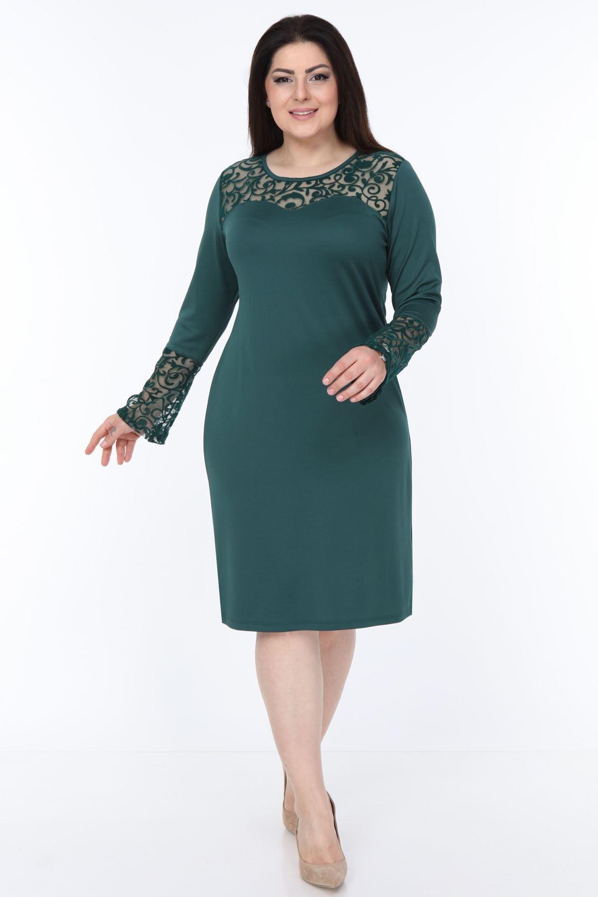 Yeşil İspanyol Kol Elbise 30Y-1050