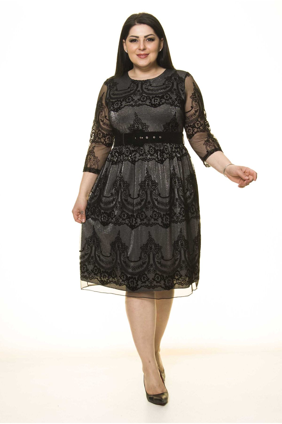 Siyah Lame Astarlı Kemerli Büyük Beden Elbise J7-1596