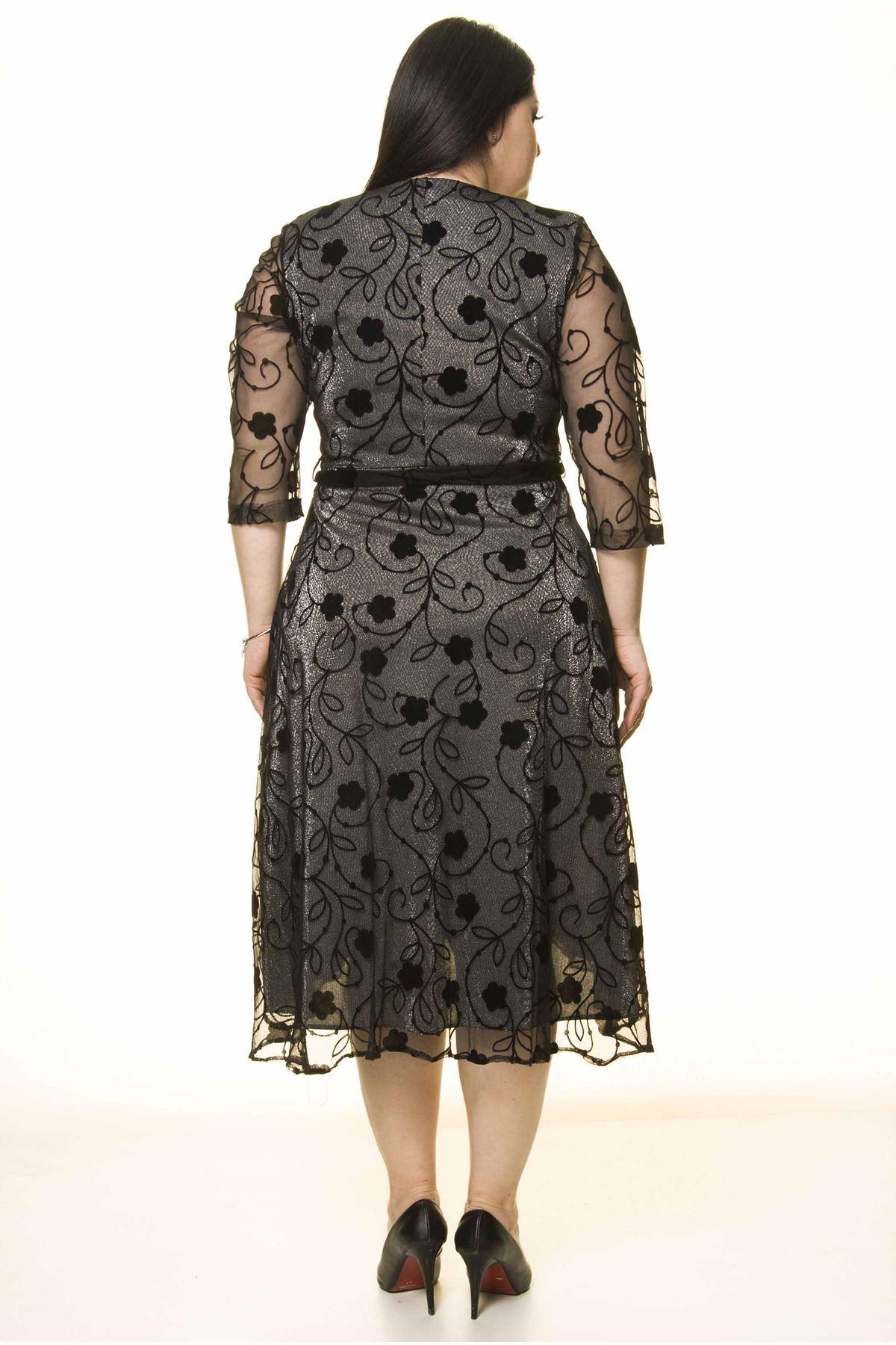 Kruvaze Yaka Kuşaklı Simli Büyük Beden Elbise 30Y-1594