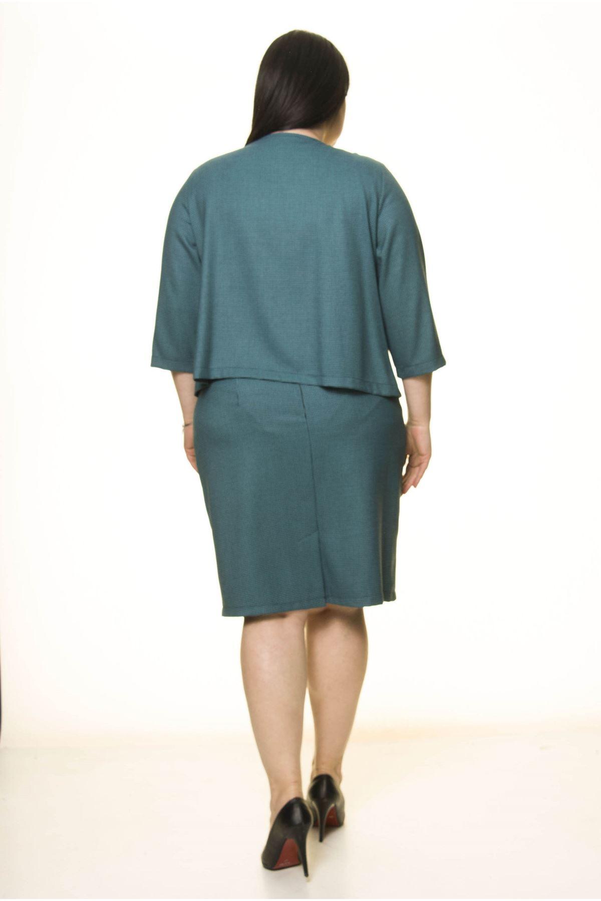 Büyük Beden Yeşil Etek Ceket Takım F10-1659