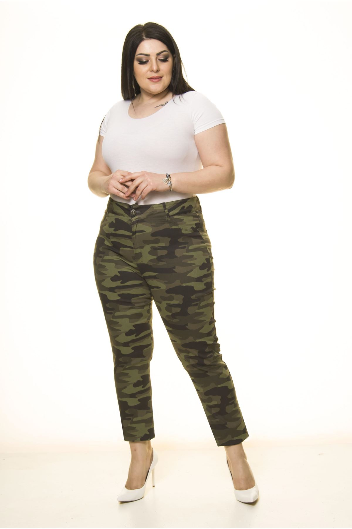 Cepli Yeşil Kamuflaj Büyük Beden Pantolon L2-1680