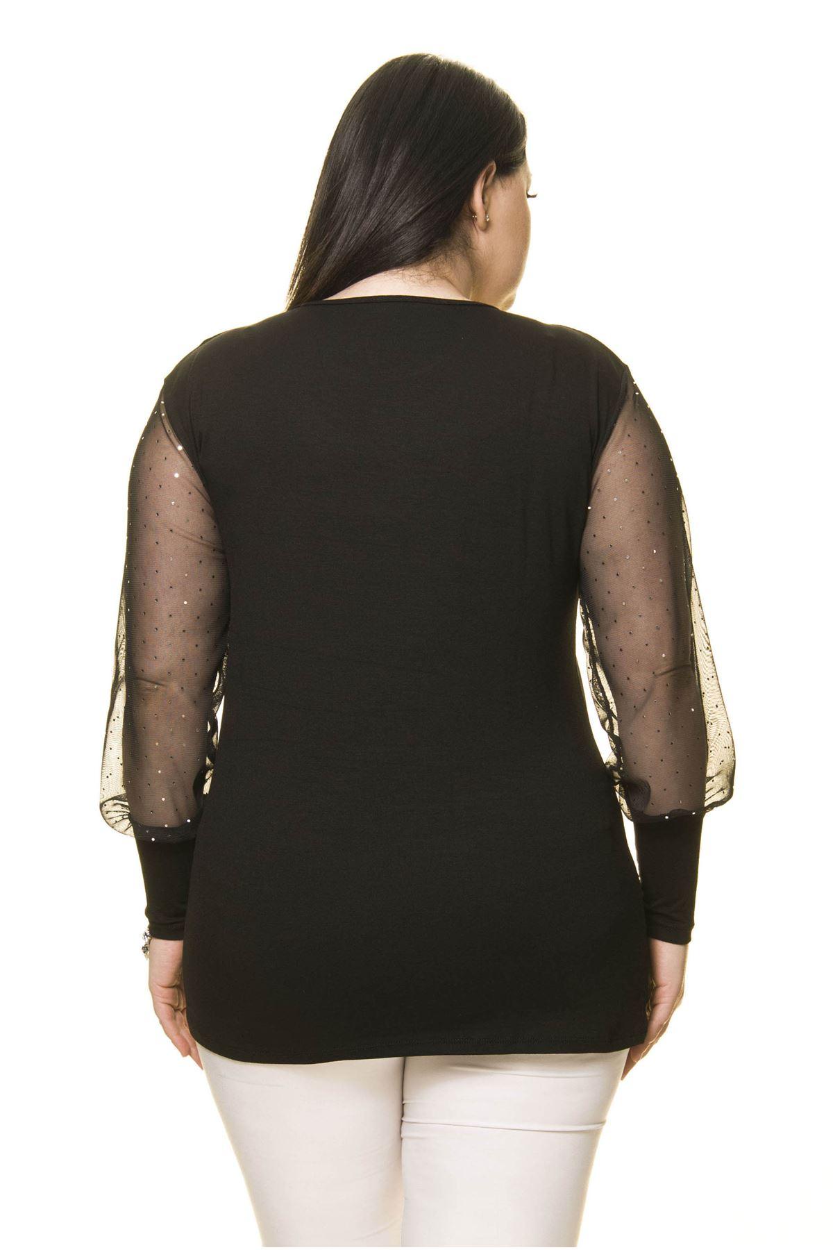 Parlak Puan Kol Büyük Beden Bluz 14B-1649