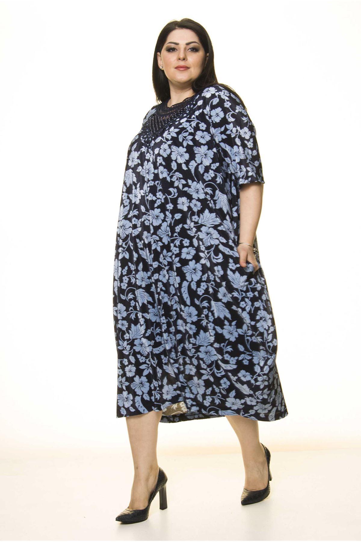 Yaka Detaylı Lacivert Cepli Büyük Beden Elbise F10-1732