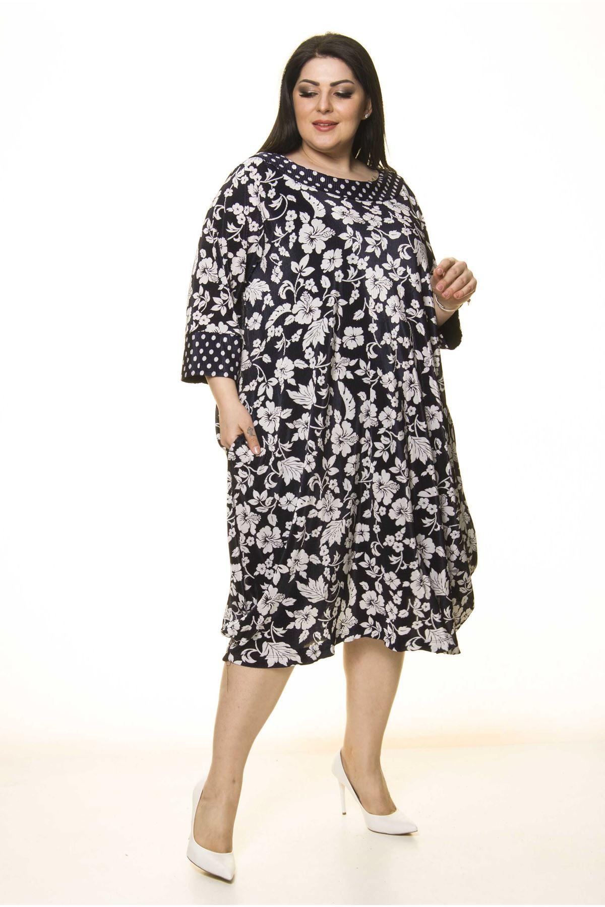 Lacivert Cepli Büyük Beden Elbise F10-1735