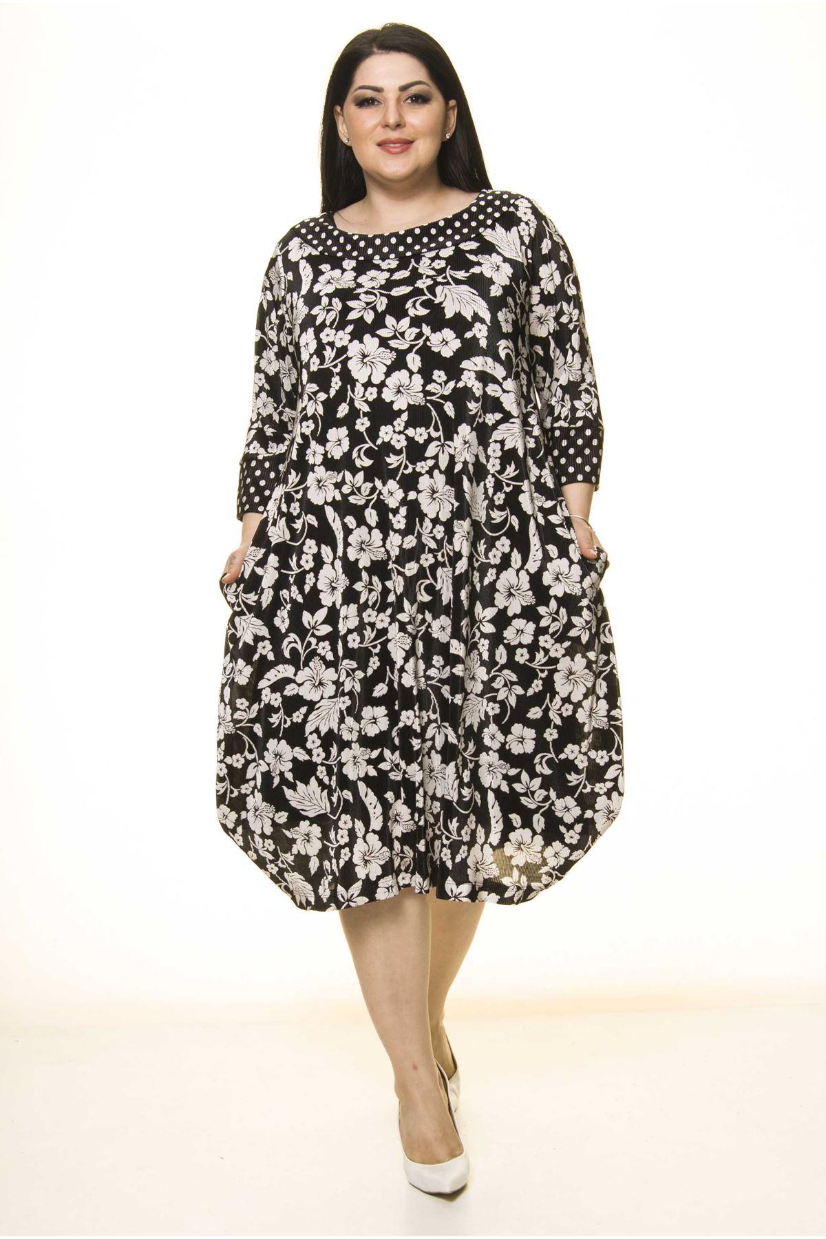 Siyah Cepli Büyük Beden Elbise F10-1738