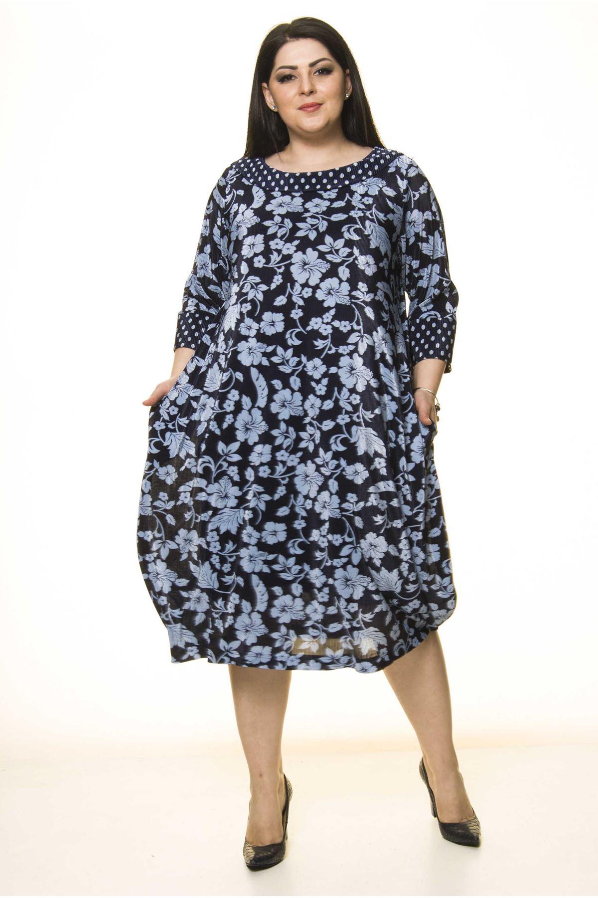 Lacivert Battal Elbise F10-1739