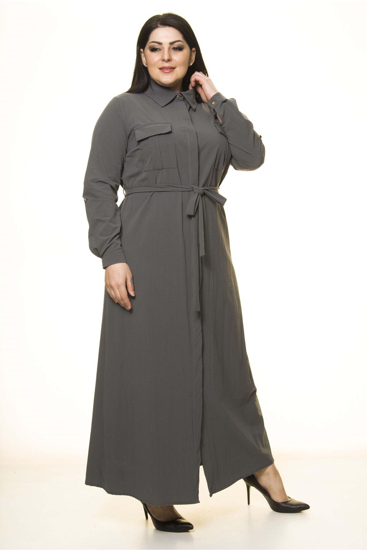 Önden Düğmeli Büyük Beden Uzun Elbise G10-1673