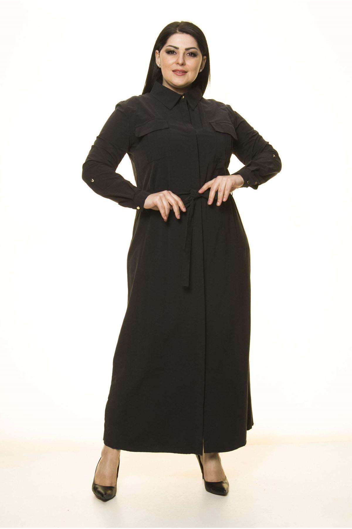 Gömlek Yaka büyük Beden Uzun Elbise G10-1674