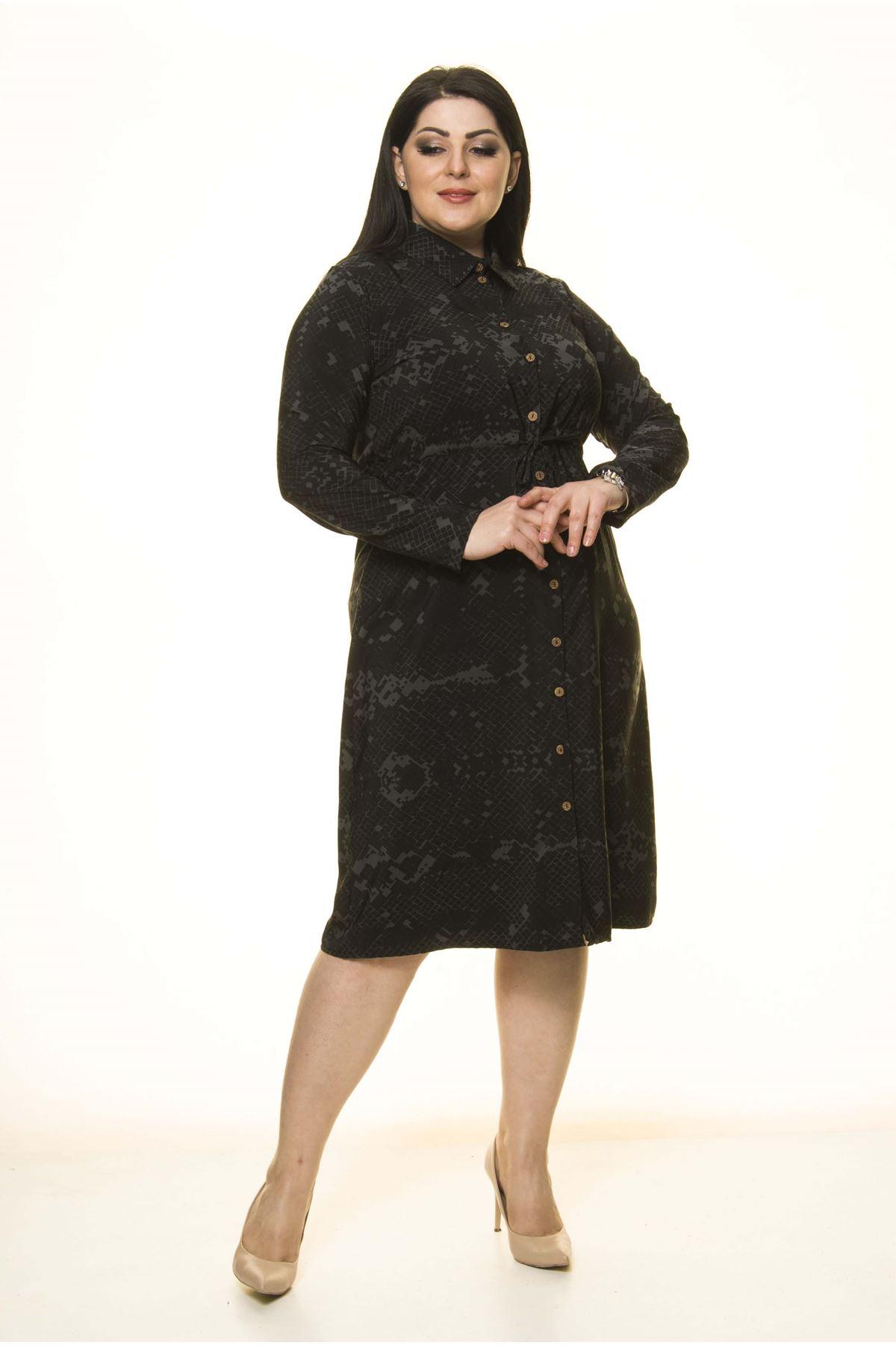 Gömlek Yaka Büyük Beden Elbise G10-1670