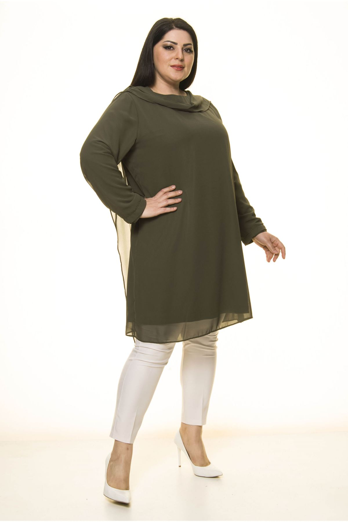 Şifon Büyük Beden Tunik  Elbise G10-1675