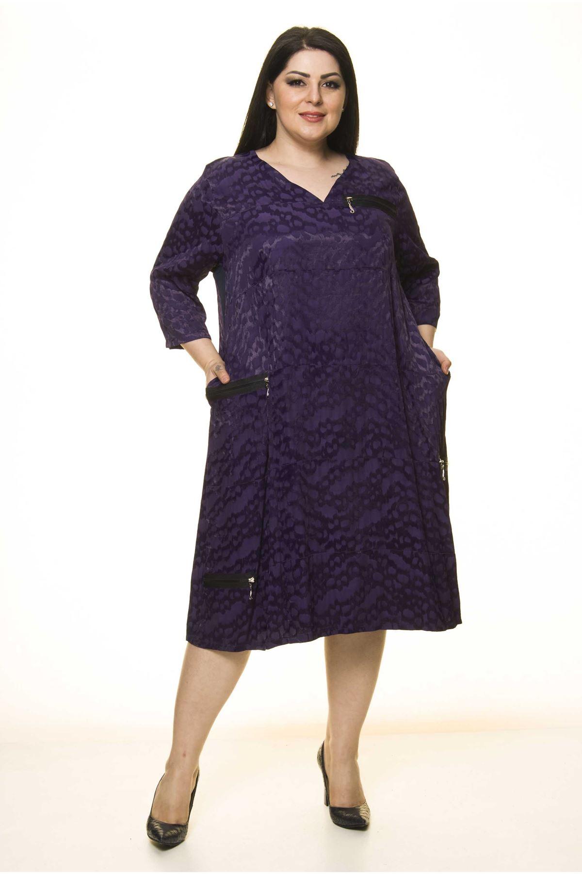 Büyük Beden Fermuar Detaylı Elbise G10-1661
