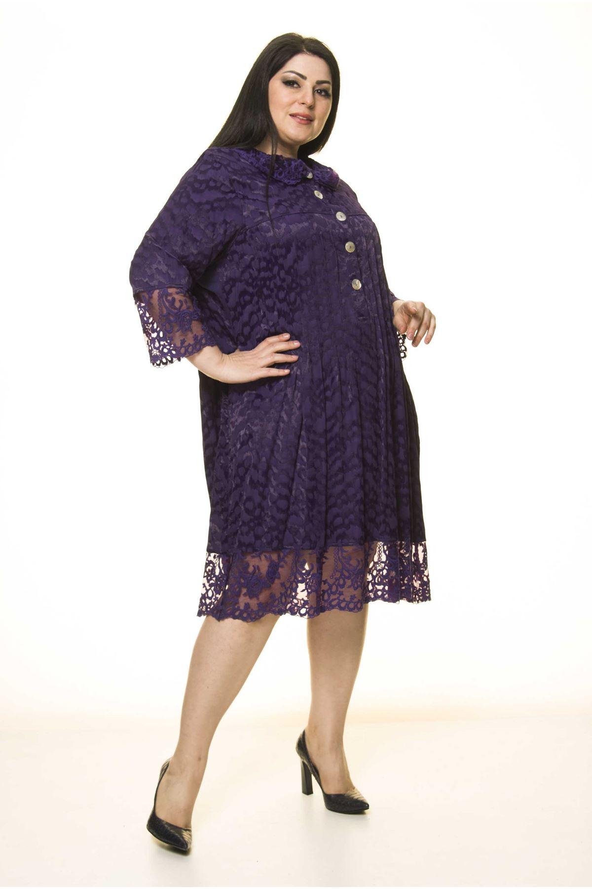 Büyük Beden Düğme Detaylı Elbise G10-1664