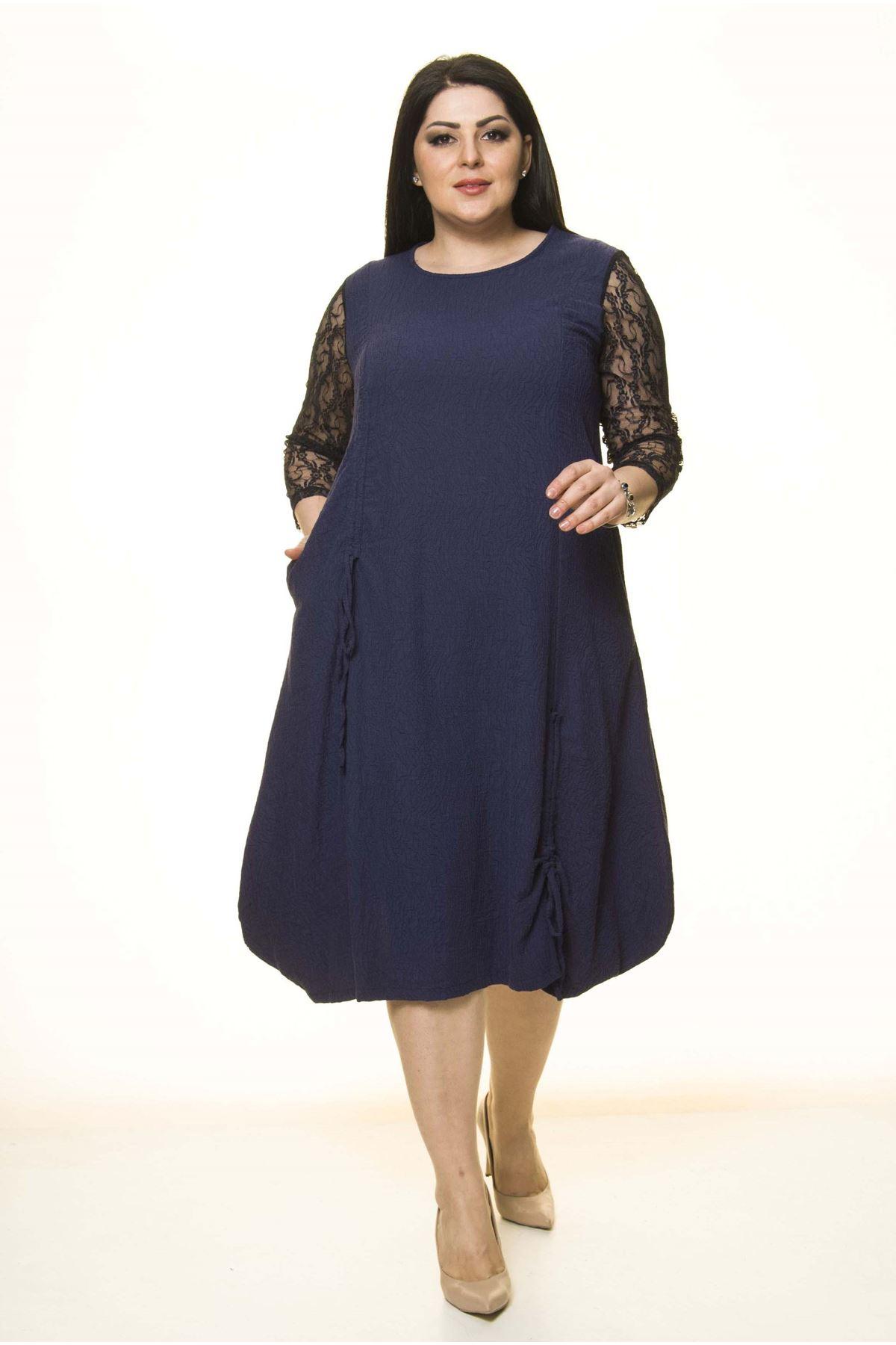 Lacivert Dantel Kollu Büyük Beden Elbise G10-1667