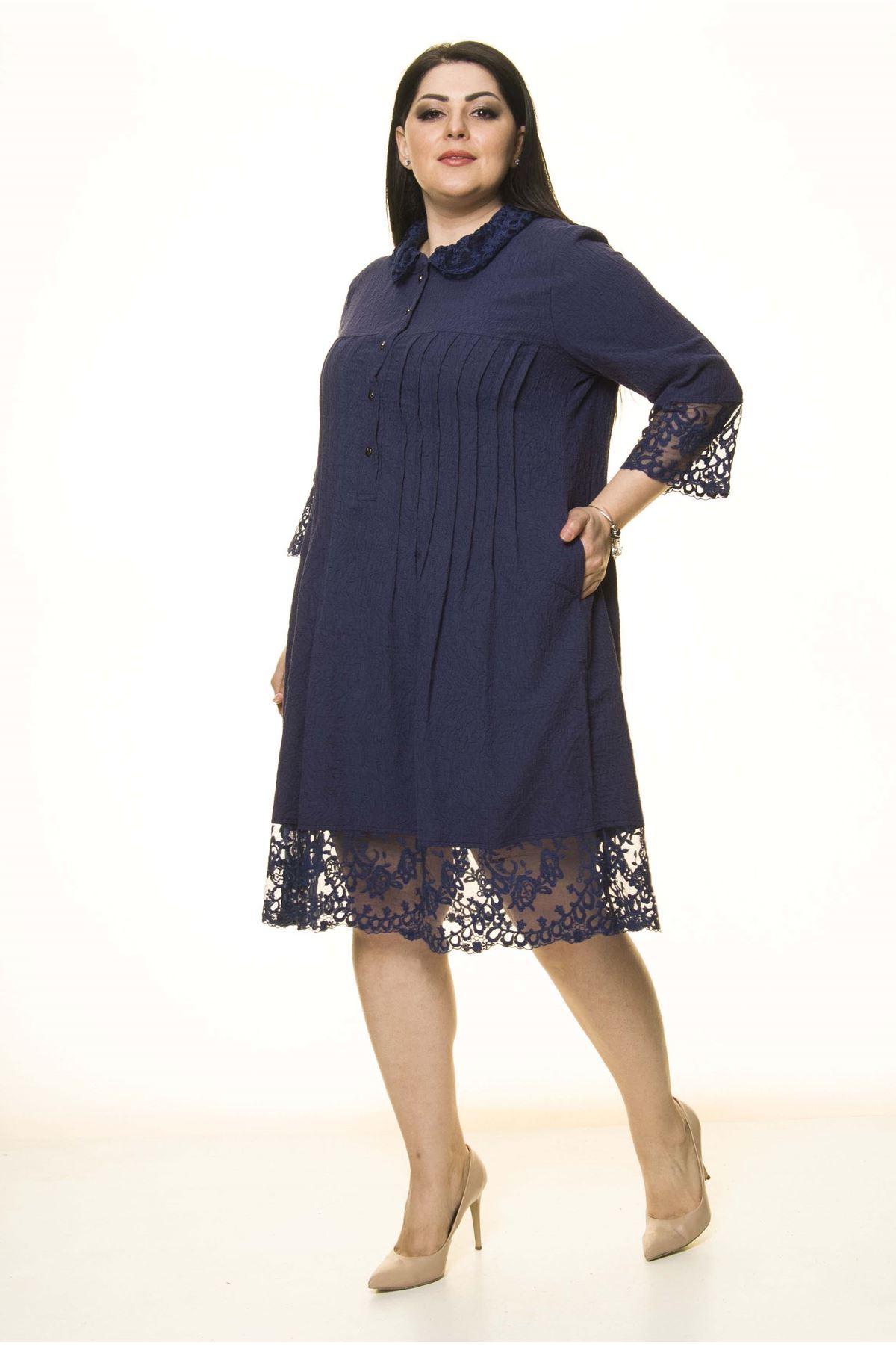 Lacivert Dantel Detaylı Elbise G10-1668