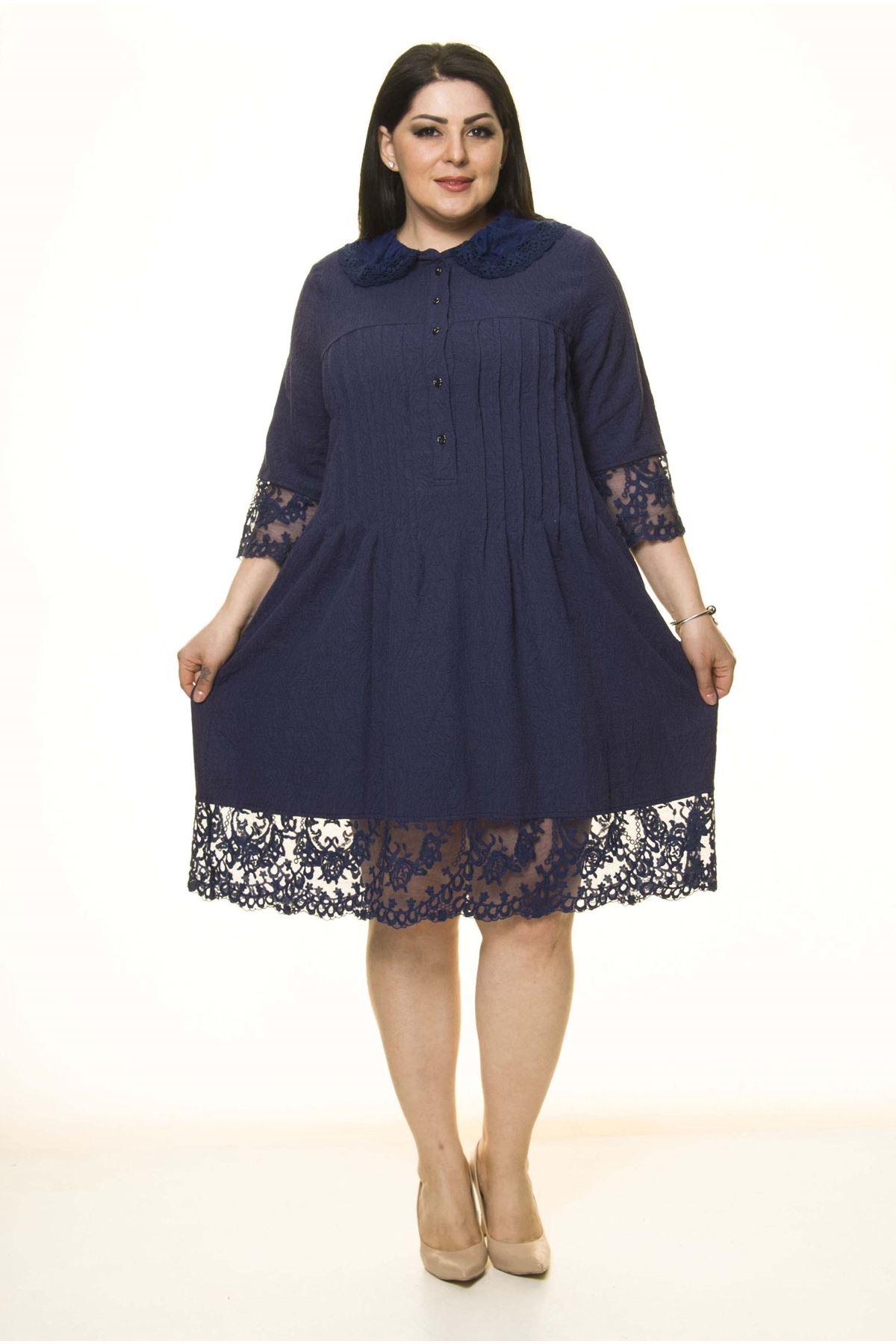 Lacivert Dantel Detaylı Büyük Beden Elbise G10-1669