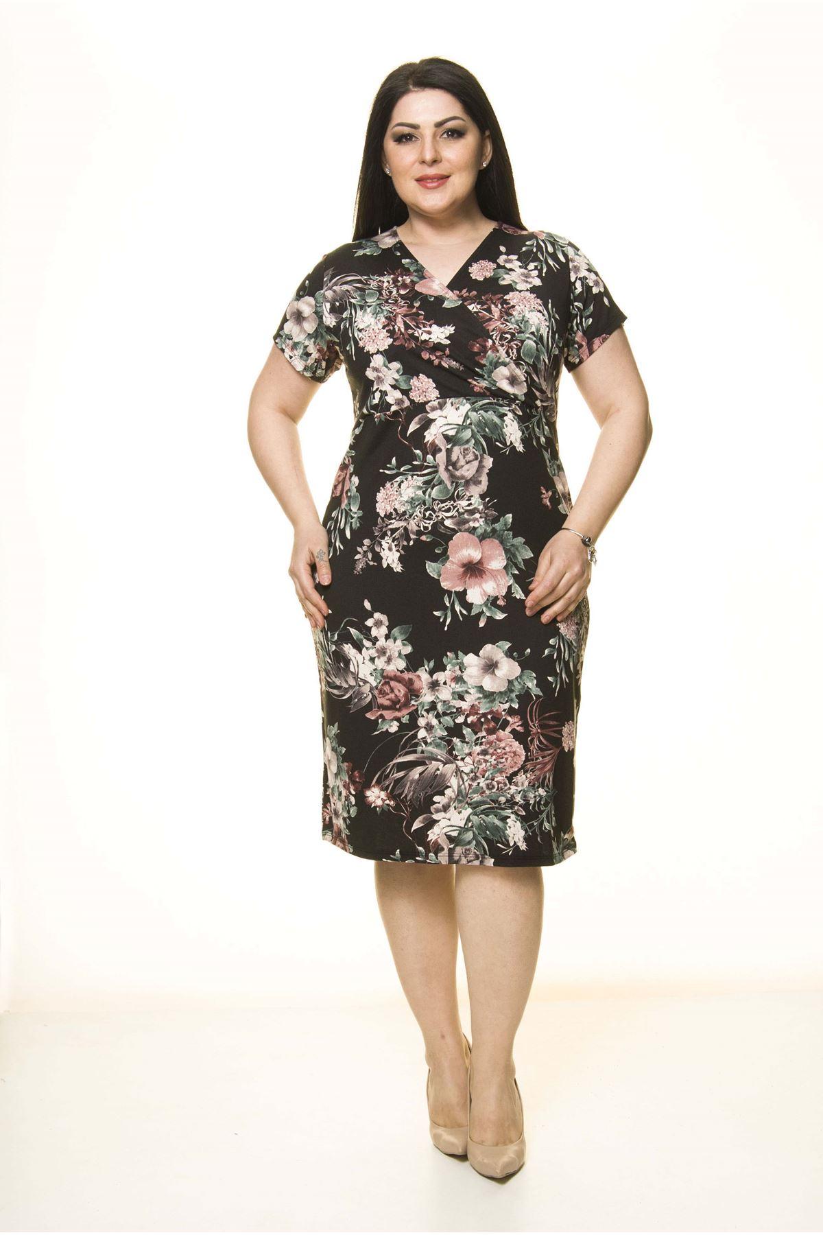 Desenli Kruvaze Yakalı Büyük Beden Elbise 1B-1742