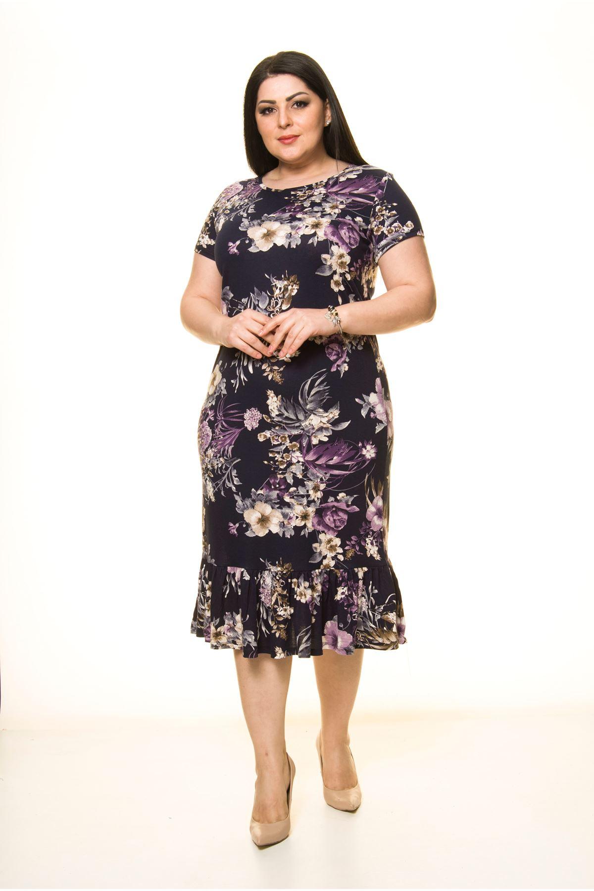 Lacivert Desenli Büyük Beden Elbise 1D-1743