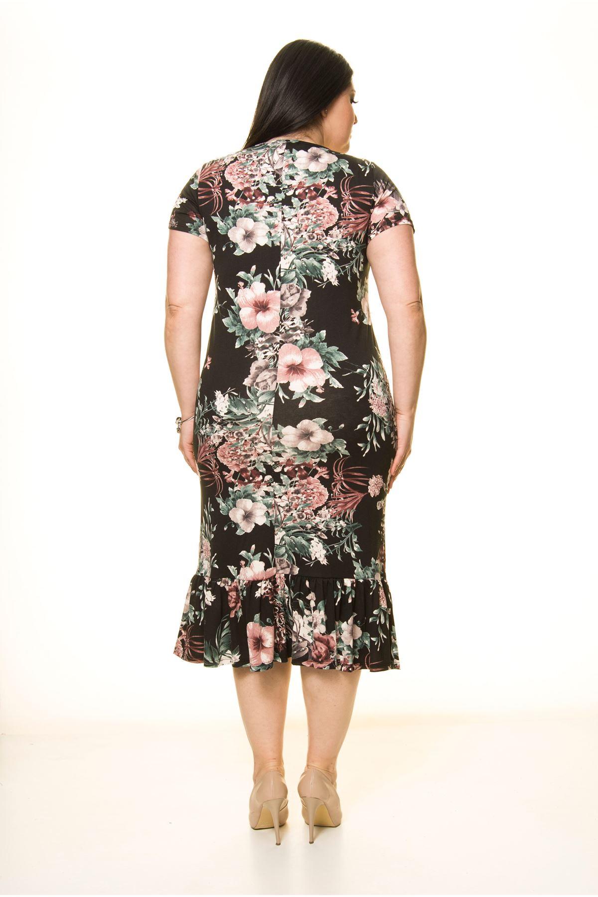 Siyah Büyük Beden Desenli Elbise 8E-1744