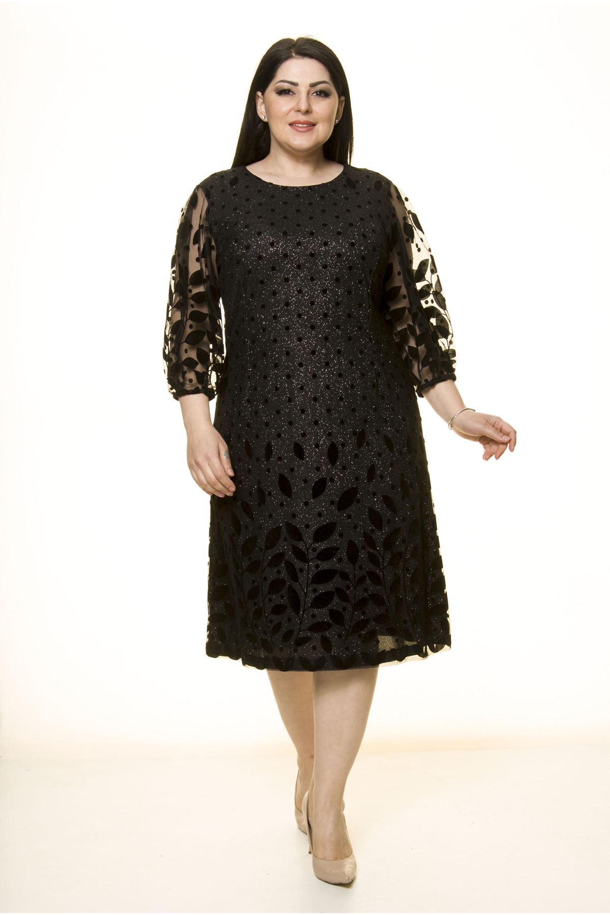 Siyah Lame Astarlı Büyük Beden Elbise J10-1746